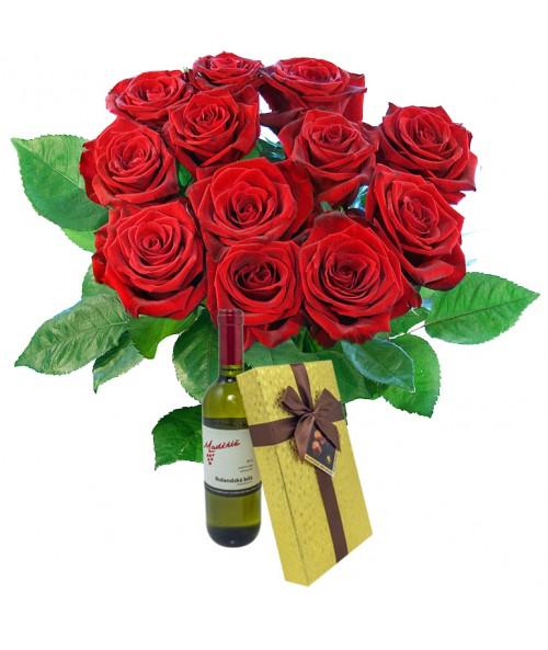 Růže+víno+čoko