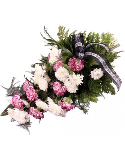 Funeral carnations and daisies