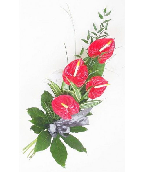 Funeral red anthuriums