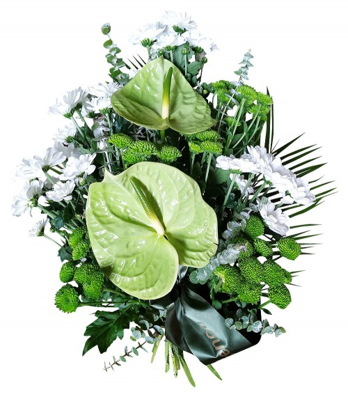 Funeral bouquet green-white