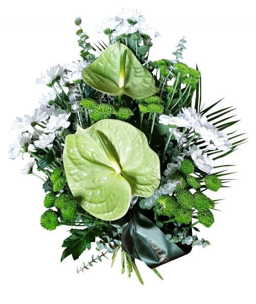 Smuteční kytice zelenobílá