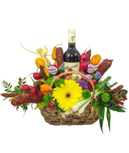 Klobásová kytice s vínem